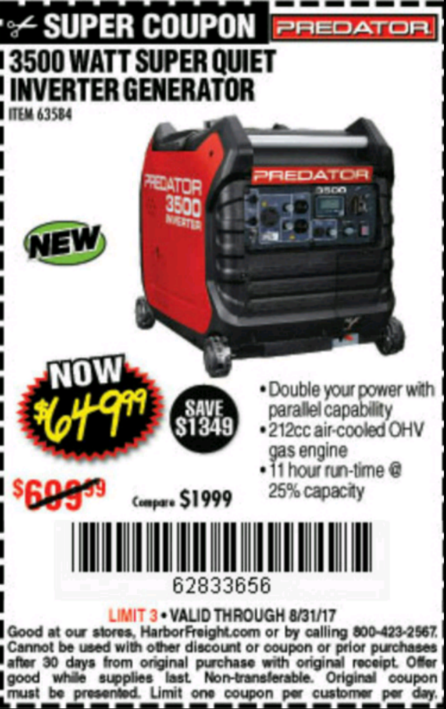 Predator Generator 3500 Watt Parallel Kit - Forest River Forums on harbor freight electric generators, walmart generators portable, honda generators portable, amazon generators portable, tractor supply generators portable, harbor freight generators watts rated, harbor freight portable garage workshop, harbor freight small gas generators, harbor freight honda generators,