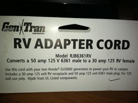 Generator adapter cord - Forest River Forums