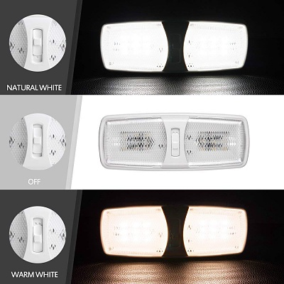 Click image for larger version  Name:MICTUNING 2 Pack 12V LED RV Ceiling Light Fixture, 2 Color Mode with Switch Double Dome 2.jpg Views:66 Size:107.3 KB ID:183685