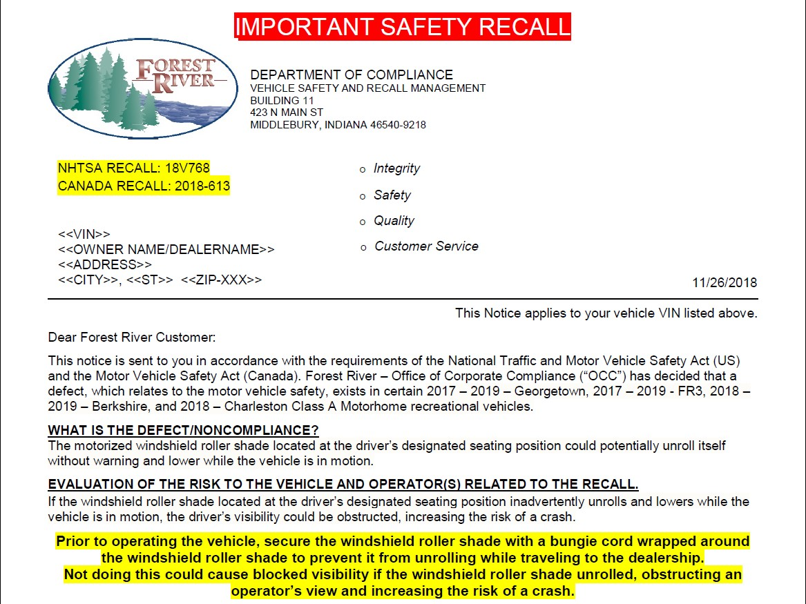 Recall - Forest River Forums