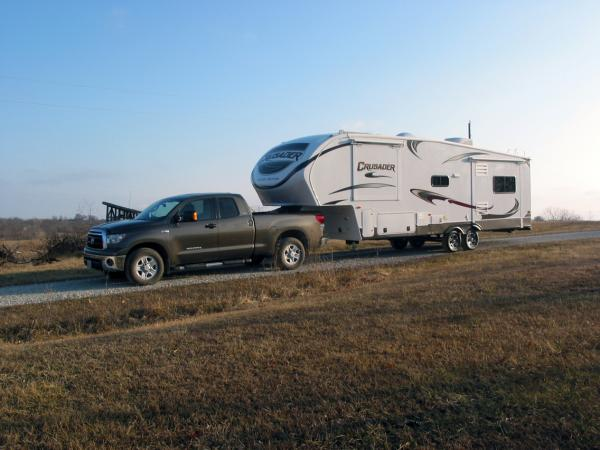 in the drive: just home from the dealer, Liberty RV in Liberty, MO. They gave us an extensive 3 hour walk-through and have been outstanding! The trailer tows beautifully behind the Tundra with 40lbs unloaded pressure in the Firestone air bags.