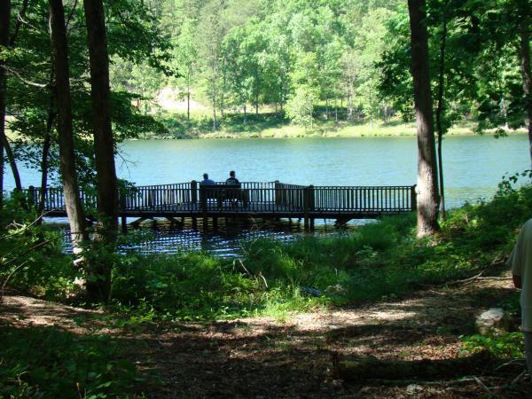 Sloppy Floyd State Park lake and bridge