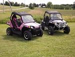 "Our RZR's -- Mom's ""Pink Passion"" & Dad's ""Purple Thunder"""